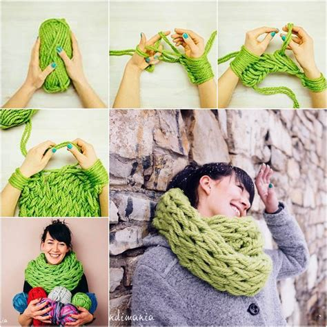 diy arm knitting infinity scarf wonderful diy easy arm knitting for beginners