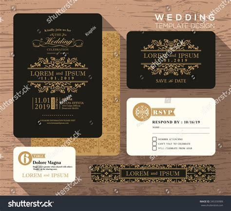 vintage wedding place cards template vintage classic wedding invitation set design template