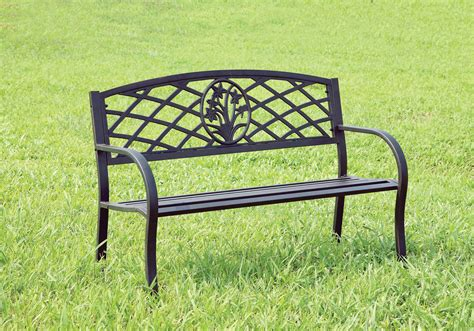 black metal bench outdoor furniture of america black rallie metal outdoor bench