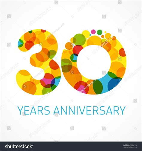 30th anniversary color template logo 30th anniversary circle form stock vector