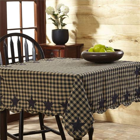 farmhouse style table cloth black check scalloped table cloth 60 quot x 60 quot
