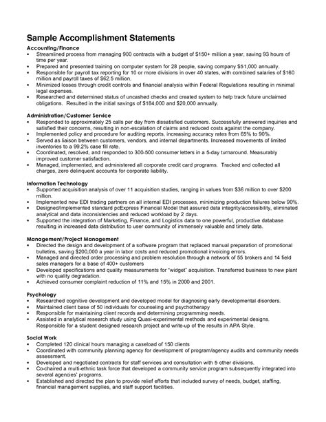 resume template resume exles accomplishments free