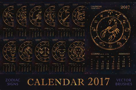 set  calendar golden zodiacs illustrations