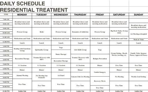 Methadone Detox Schedule by Daily Schedules Harmony Heals Detox