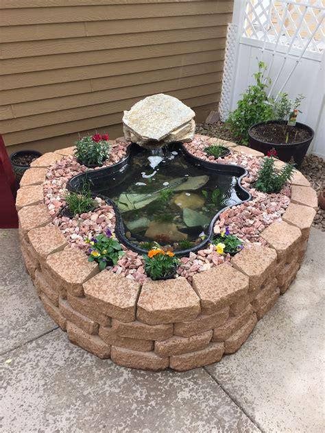 patio koi pond above ground pond using garden wall blocks patio pond
