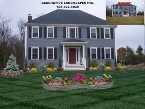 colonial home front yard landscape design attleboro ma decorative landscapes inc decorative