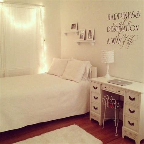 Fairy Lights And A Personal Quote In Vinyl Can Brighten Up White Lights In Bedroom
