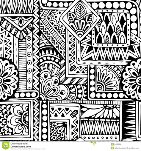 tribal pattern doodles seamless ethnic doodle black and white background stock