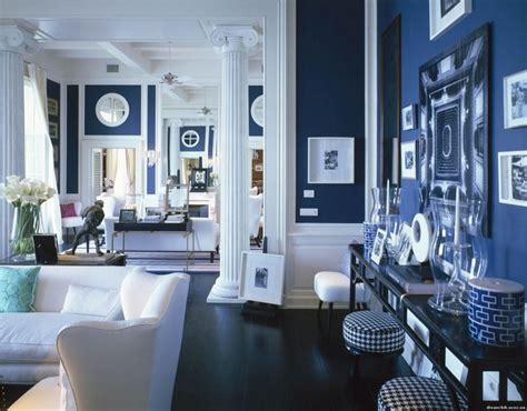 Royal Blue Paint Living Room Blue White Interiors Modern Designer Furniture