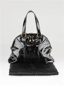 The Yves Laurent Croc Embossed Overseas Handbag by Yves Laurent Black Croc Embossed Patent Leather Muse