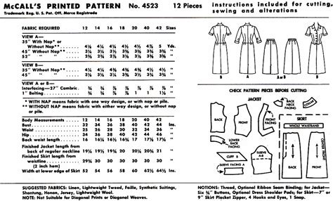 pattern envelope front and back vintage sewing patterns out of print retro vogue simplicity