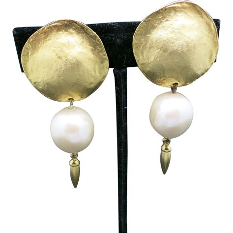 Gold Tone Clip Earrings pearl earrings gold tone big clip on from