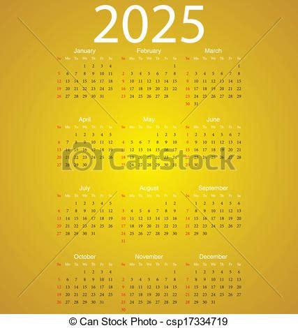 Calendario De 2025 Vector Clip De 2025 Calendario Simple Vector