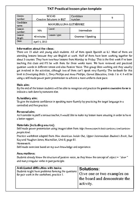 lesson plan template new mexico passive causative lesson plan for tkt