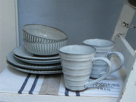 Landhaus Geschirr Keramik by Teller Essteller Speiseteller Grau Blau Wei 223 Geschirr