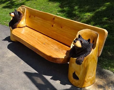 chainsaw bench logs chainsaw carved black bear bench quot one of a kind quot wood