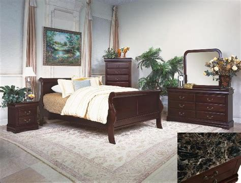 dark cherry anondale collection marble top bedroom set louis philip youth 4 piece marble bedroom set in dark