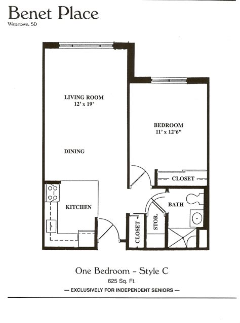 large one bedroom floor plans floor plans benet place senior apartments independent