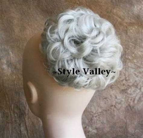 Wedding Hair Bun Extensions by Silver White Bun Extension Hair Curly Wedding Gray