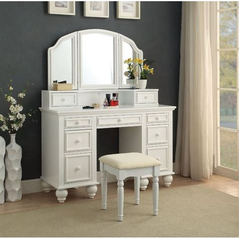 Athy Transitional White Solid Wood Vanity With Stool by Anthonyson Transitional Vanity Set With Mirror Decor