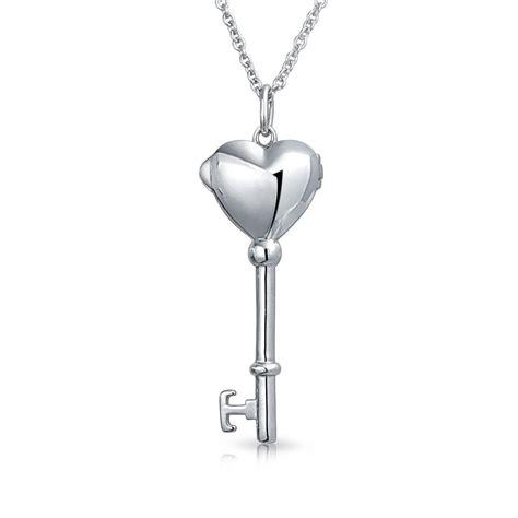 Silver Locket Key Necklace 925 sterling silver blue enamel key locket necklace 18in