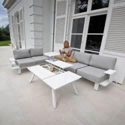 salon d angle de jardin en aluminium blanc coussins gris kiona