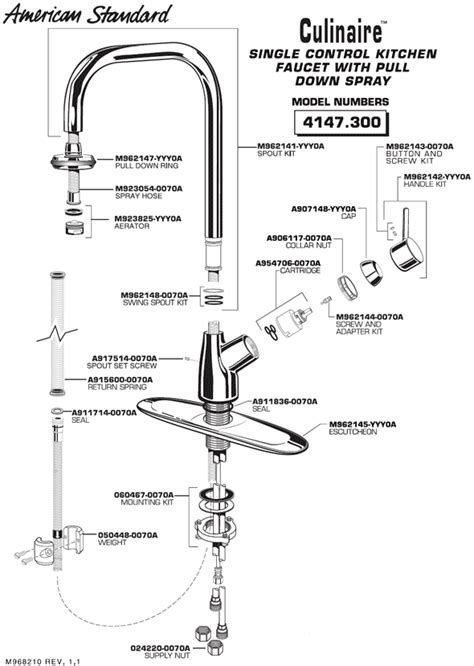 american standard kitchen faucet parts diagram plumbingwarehouse american standard commercial faucet parts for model 4147 300