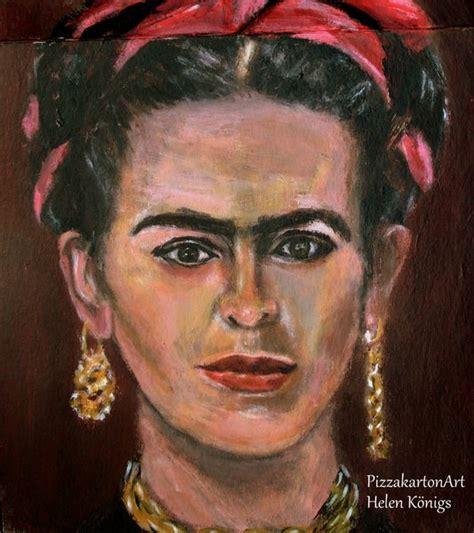 frida kahlo selbstbildnis mit dornenhalsband k 252 nstlerportraits pizzakartonmalerei helen k 246 nigs