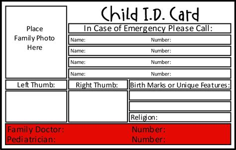 id card template printable child id card template invitation template