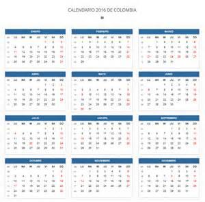 Calendario 2014 Colombia Calendario Laboral 2016 Para Colombia