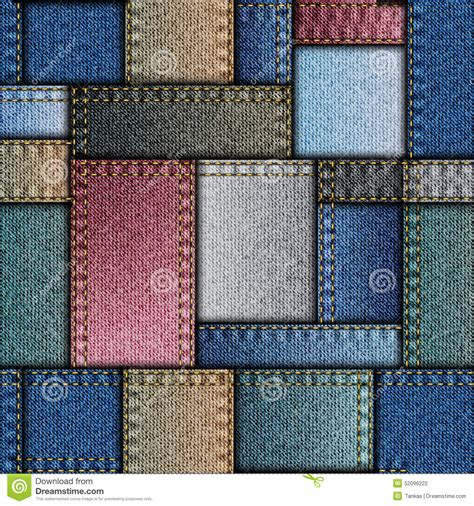 Denim Patchwork Fabric - patchwork of denim fabric stock vector image of sewing