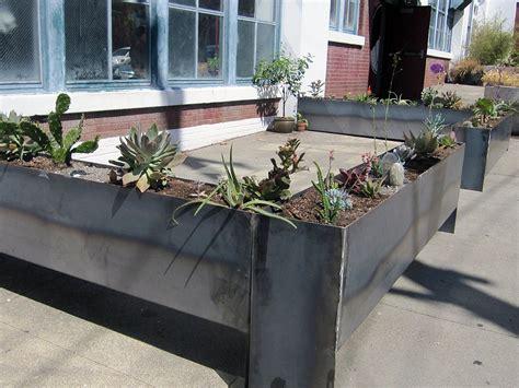 hand crafted raw steel planter box by oak fog