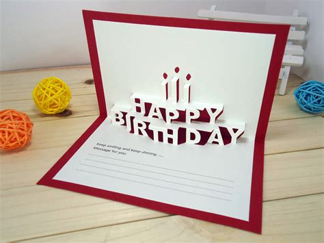 14 5x9 5cm happy birthday creative kirigami origami 3d birthday greeting gift card with envelope