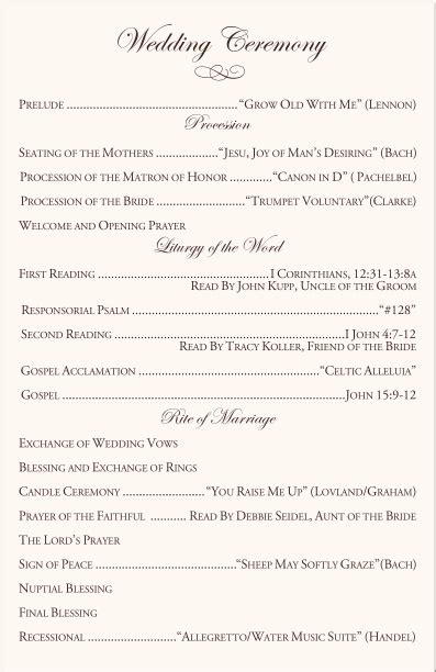 Golden Wedding Anniversary Songs Tagalog by Catholic Wedding Ceremony Program Template