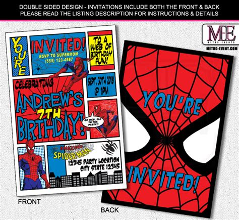 printable spiderman birthday invitation designs superhero invitations metro designs and metro events