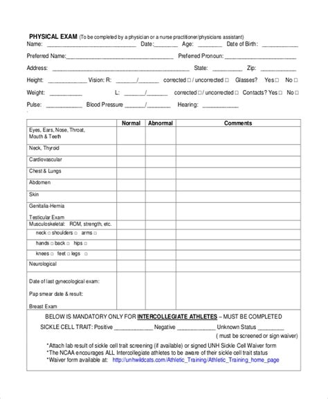 Sle Physical Assessment Forms 8 Free Documents In Pdf Word Physical Checklist Template