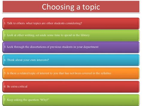 picking a dissertation topic guidelines for dissertation