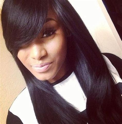 how to style weave swoop bangs 15 best collection of quick weave long hairstyles