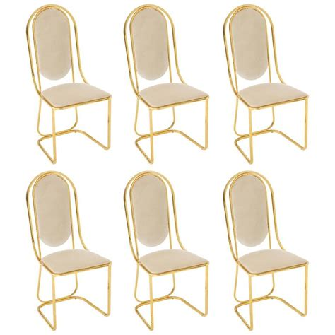 Glam Dining Chairs Glam Brass And Grey White Velvet Dining Chairs Mid Century 1970s 1980s Italy For Sale At 1stdibs