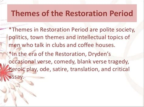 Themes In Restoration Literature | 2 3 maram doha