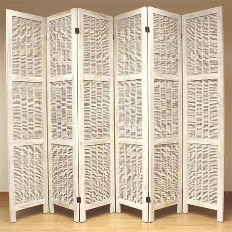 room devider cream 6 panel wood frame wicker room divider privacy