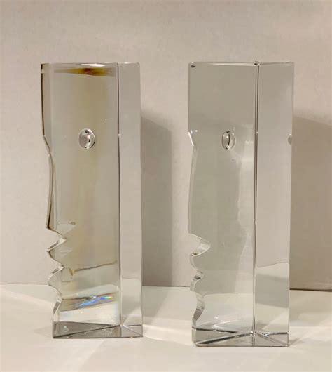 incredible baccarat crystal sculptures  bookends rigot encounter man  woman  stdibs