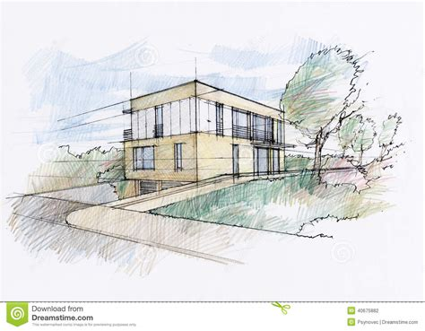 sketchbook rendr modern house sketch stock illustration illustration of