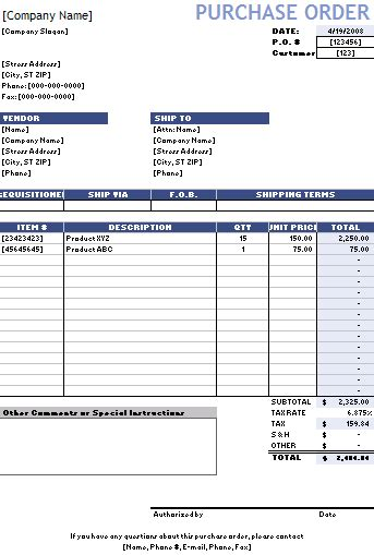 purchase order form template excel purchase order template