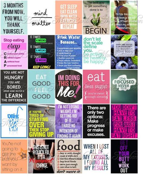 printable diet quotes fitness and diet motivation stickers for life planners and
