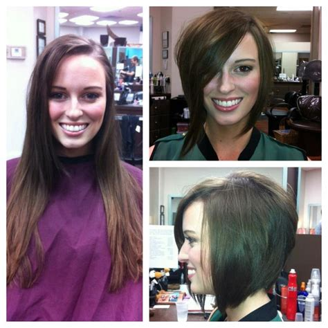 before and after pictures bob haircut before and after haircut cute angled stacked textured bob