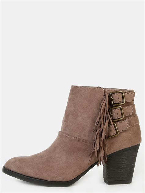 faux suede fringe ankle boots taupe makemechic