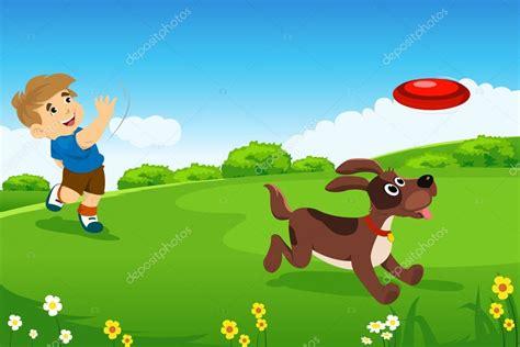 imagenes de niños jugando con un perro un ni 241 o jugando con su perro vector de stock