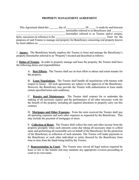 rental property agreement template rental management agreement template property contract