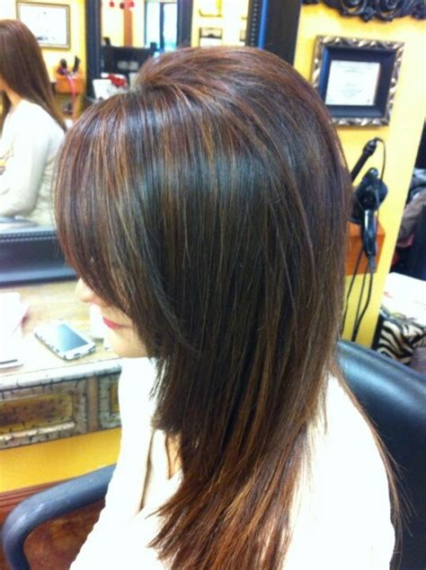 caramel lowlights in a dark brown bob 17 best images about dark hair with highlights on